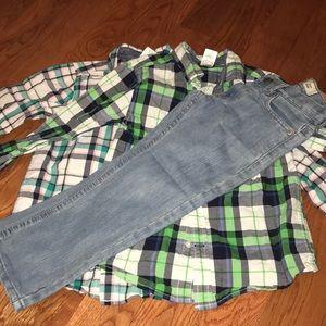 GYMBOREE Button Down Shirts and Levi's 511 Jeans